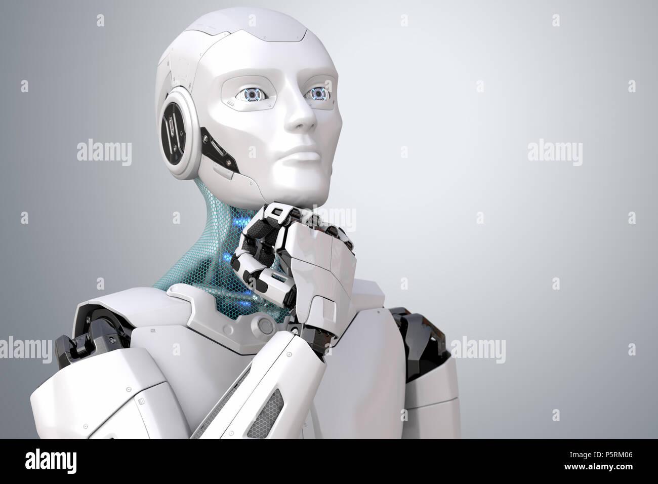 Träumen Roboter. Beschneidungspfad enthalten. 3D-Darstellung Stockbild