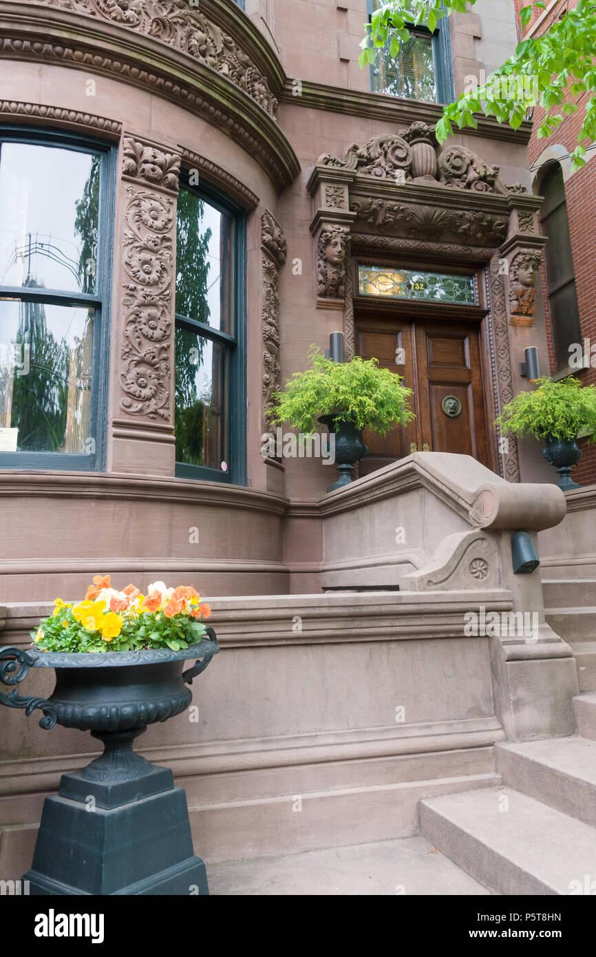 Brownstone Terrasse Tur Und Dekorative Balustraden Ein Beispiel Des