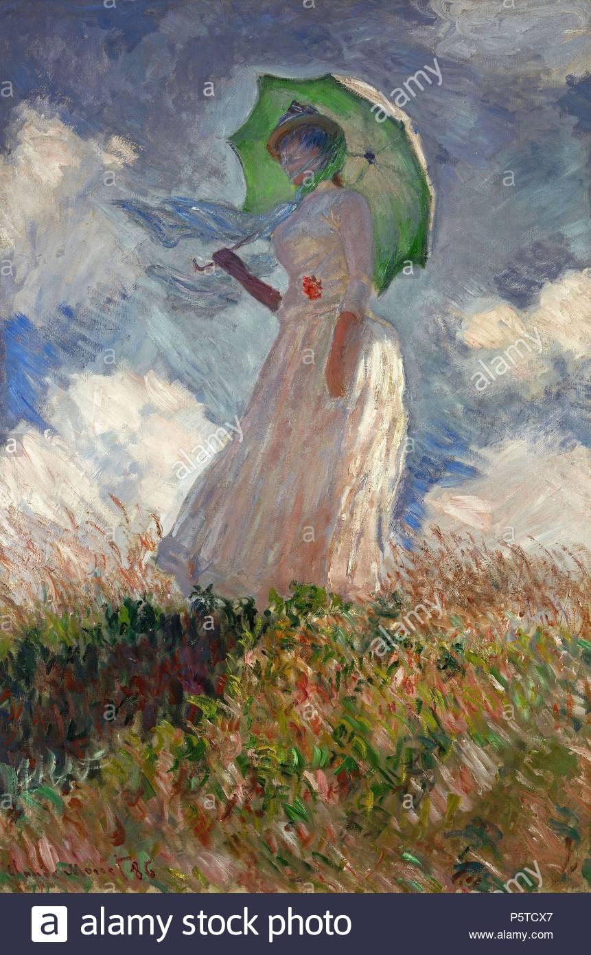 Claude Monet Die Frau Mit Sonnenschirm 1886 Ol Auf Leinwand