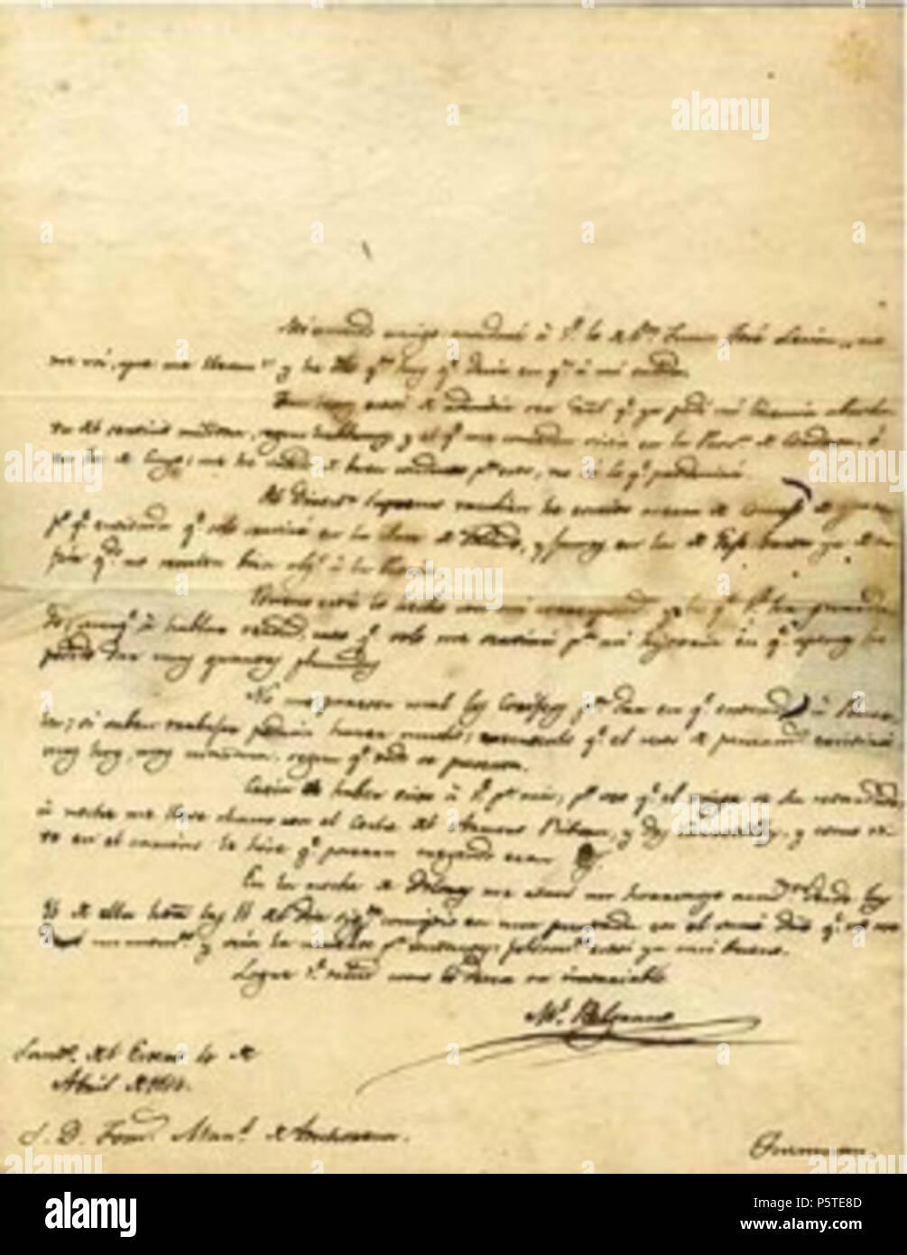 Na Englisch Brief Geschrieben Von Manuel Belgrano Einer Der