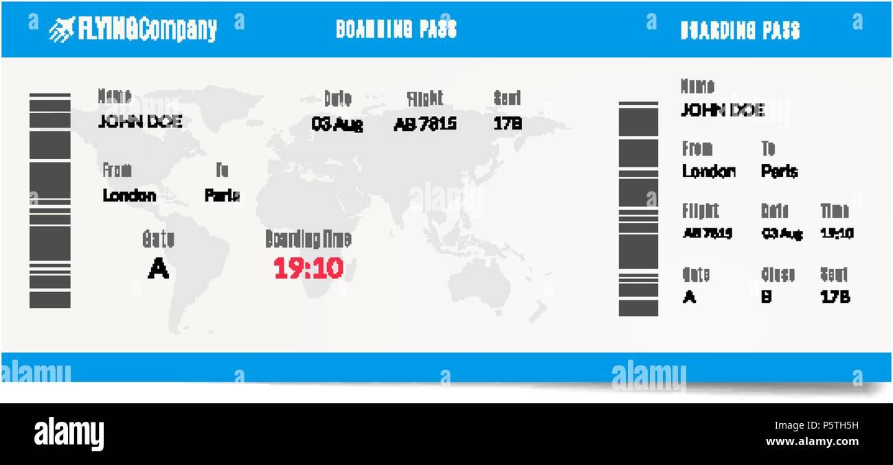 Flugzeug Boarding Pass Design. Flugreisen ticket Abbildung. Luft ...