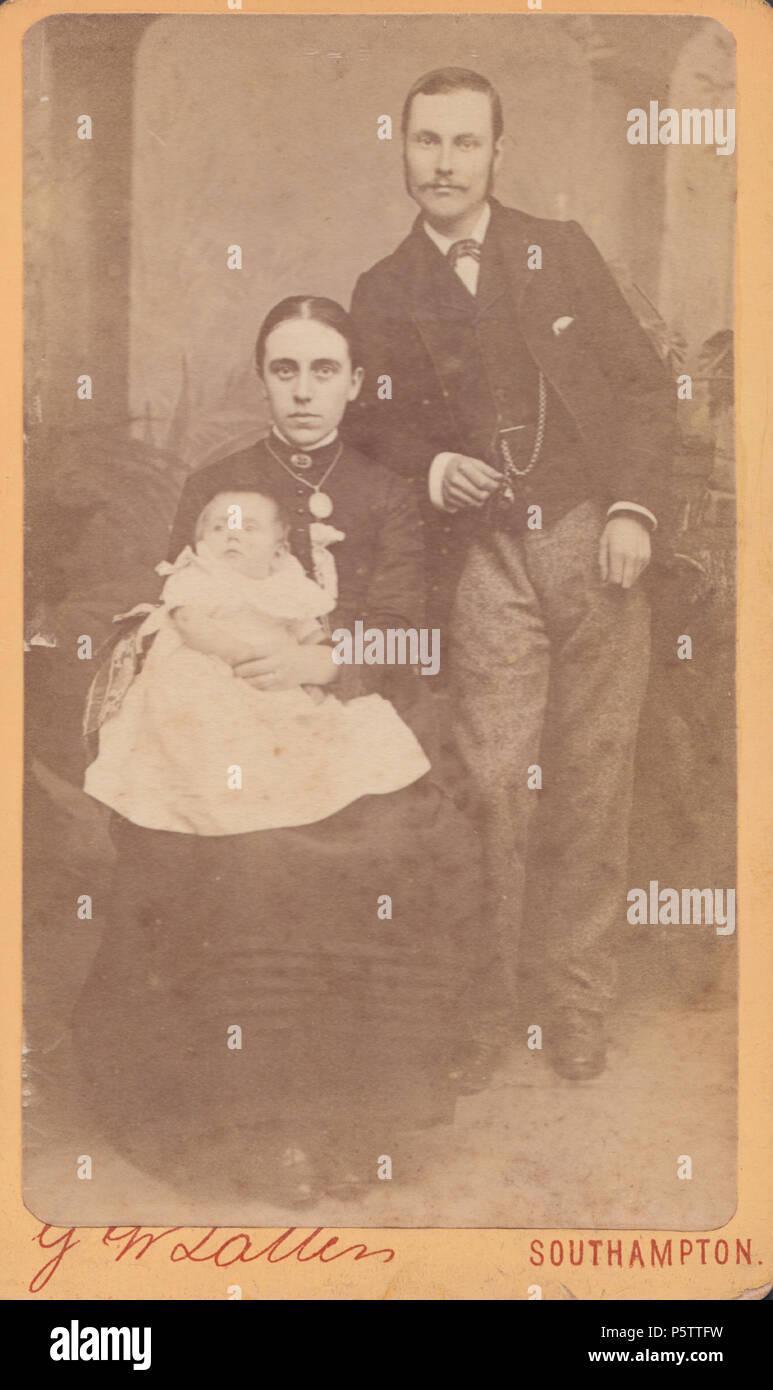 Southampton CDV Carte De Visite Eines Viktorianischen Paar Mit Ihrem Baby