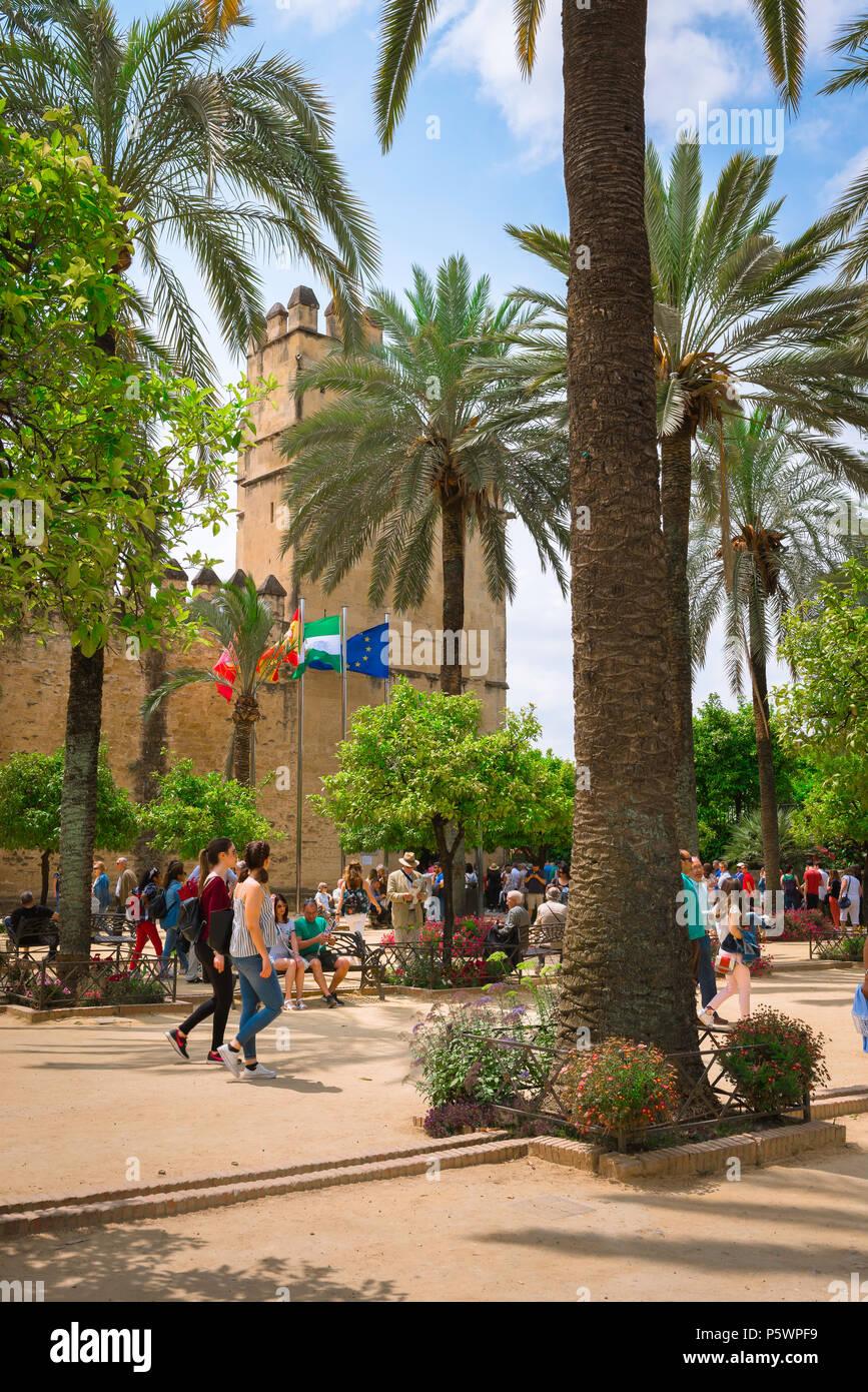 Cordoba Alcazar, Ansicht von Touristen im Palm Tree versammelt gesäumten Plaza vor der Alcazar de los Reyes Cristianos, Cordoba, Andalusien, Spanien. Stockbild