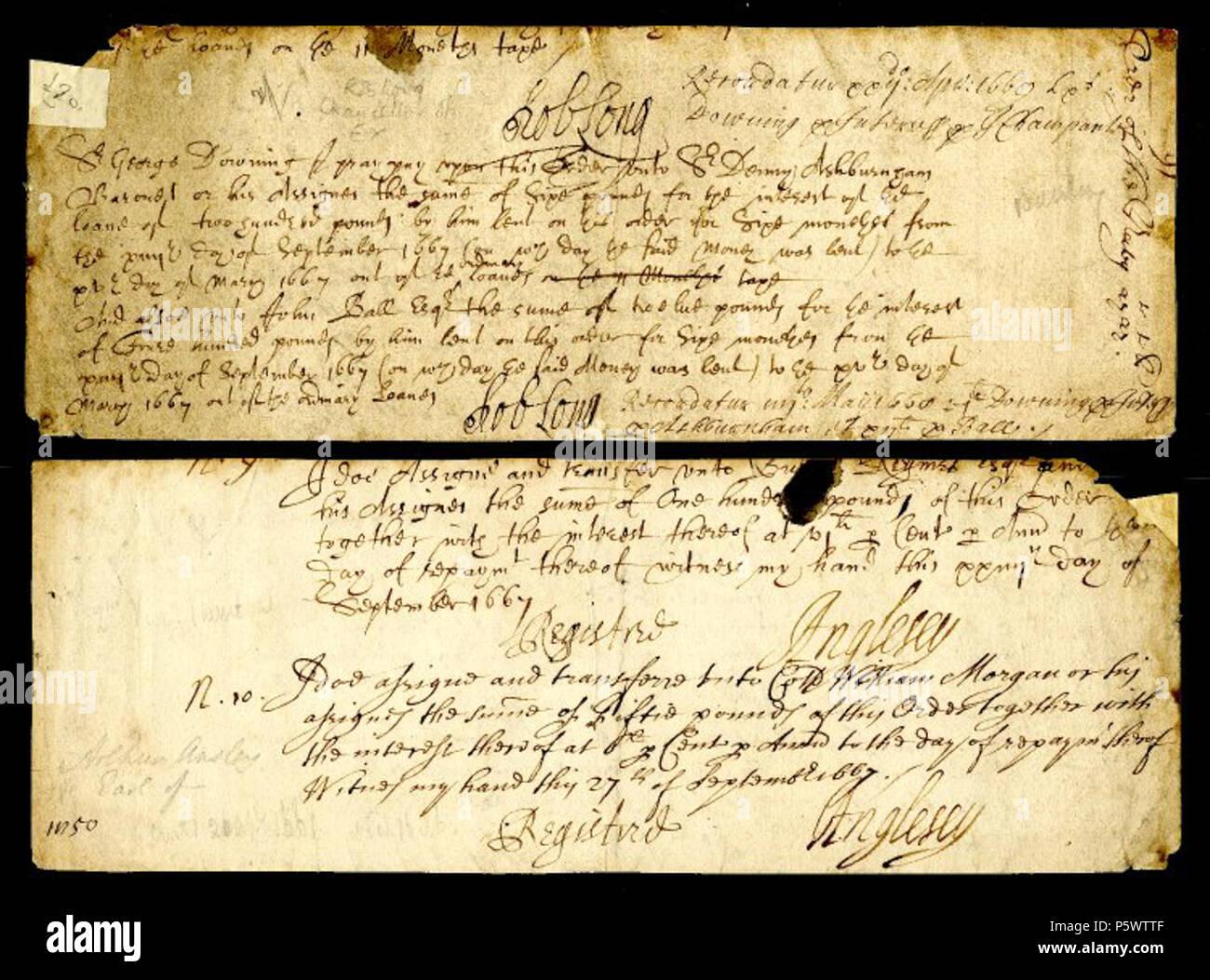 Na Englisch Entwurf Eines Schreibens Von 1669 Von Sir Robert