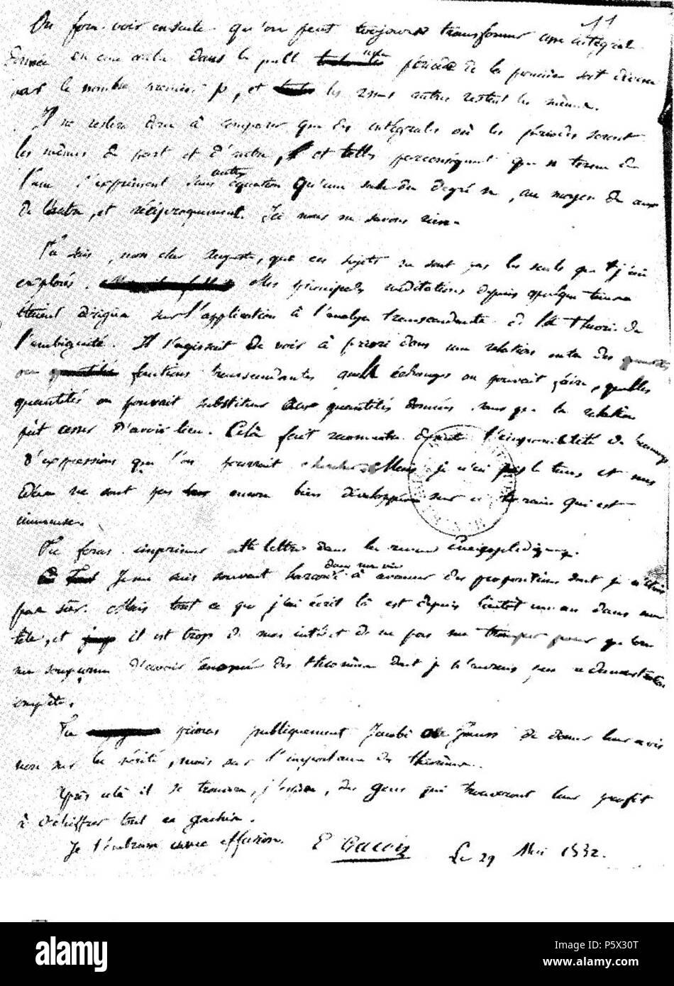 Na Dies Ist Die Letzte Seite Des Briefes Von évariste Galois