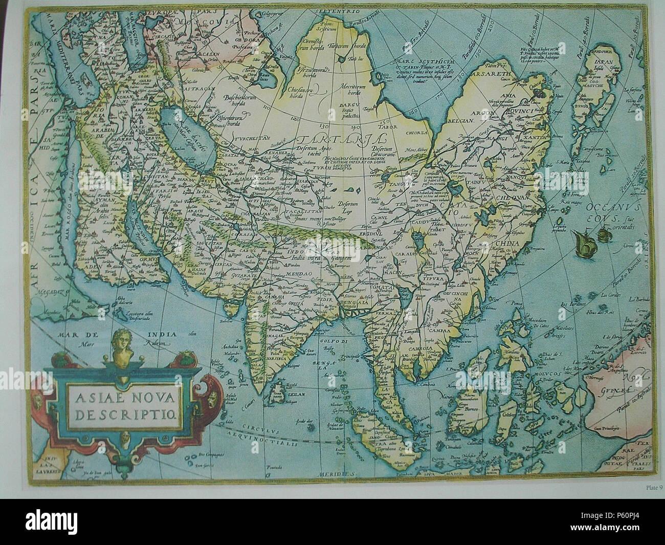Landkarte Asien Ohne Namen.Ortelius Karte Von Asien Stockfotos Ortelius Karte Von