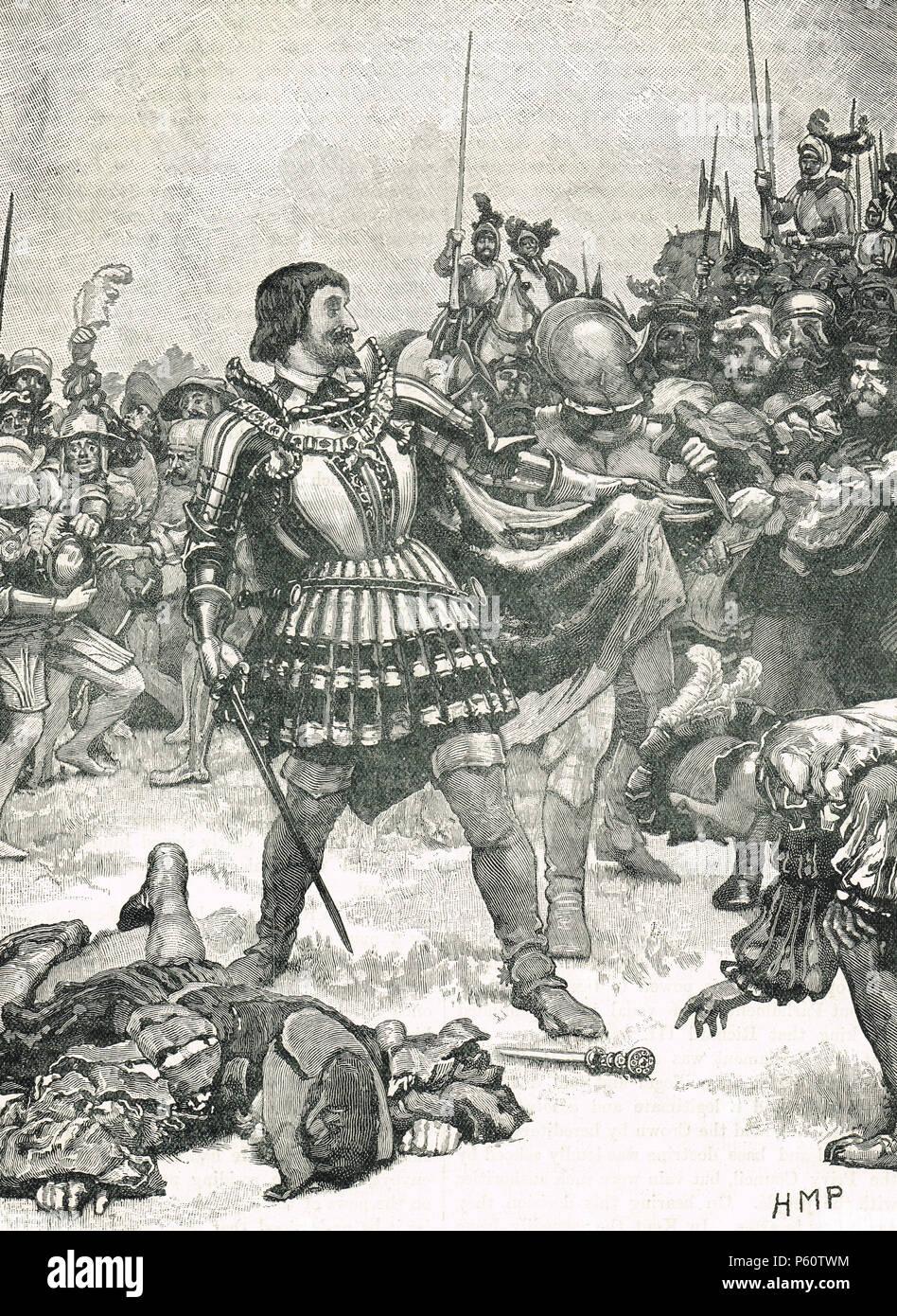 Die kapitulation von König Franz I. von Frankreich, Schlacht von Pavia, 24. Februar 1525 Stockbild