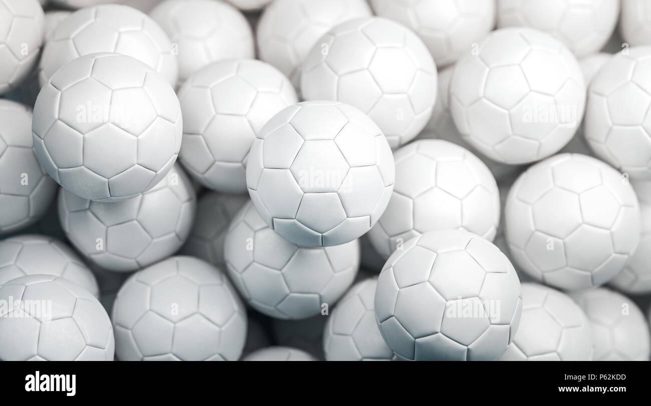 Leere weiße Fußball stack Mock up, Ansicht von oben, 3D-Rendering ...