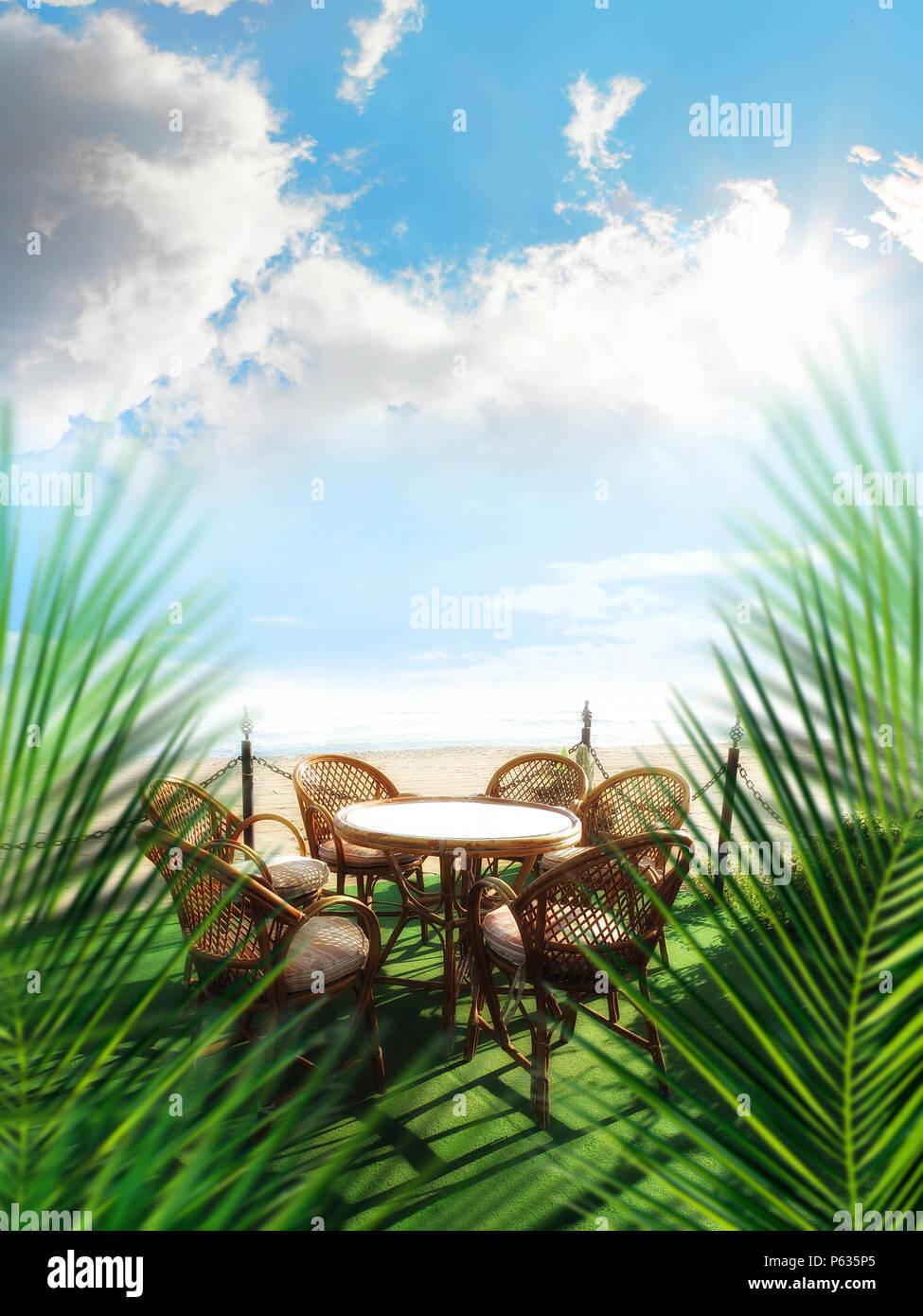 Outdoor Bambus Gartenmöbel Vom Strand Stockfoto Bild 210282749 Alamy