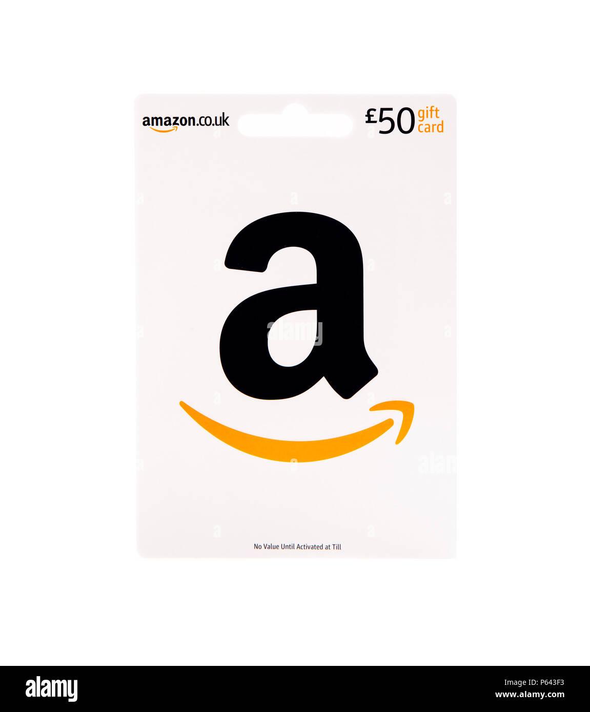 SWINDON, Großbritannien - 27 Juni 2018: £ 50 Amazon Gutschein auf weißem Hintergrund Stockbild