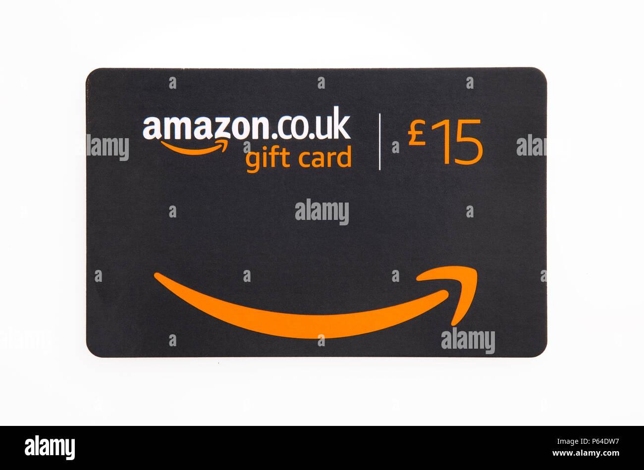 SWINDON, Großbritannien - 27 Juni 2018: Amazon Gutschein auf weißem Hintergrund Stockbild