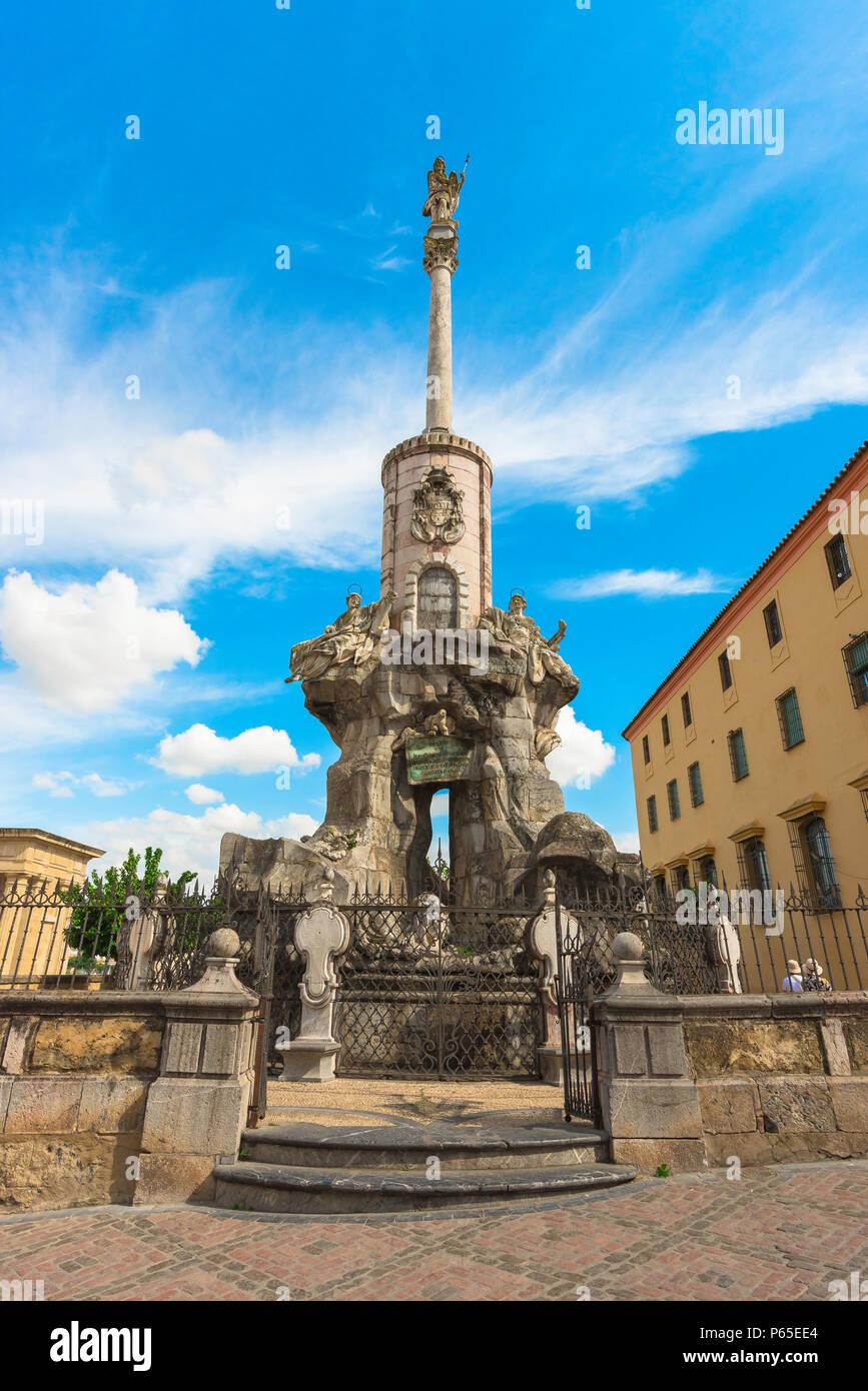 Das 17. Jahrhundert Barock San Rafael Arcangel Denkmal von Miguel de Verdiguer in der Altstadt von Cordoba, Andalusien, Spanien. Stockbild