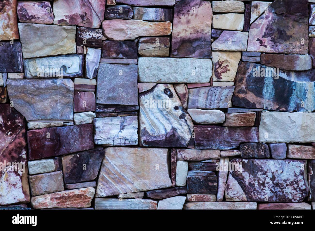 Geometrische Gestaltung Sandstein Naturstein Steine Wand ...