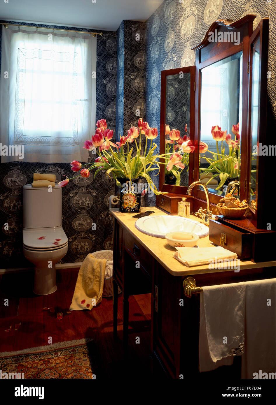 Blick auf die schönen Blumen im Badezimmer Stockfoto, Bild ...
