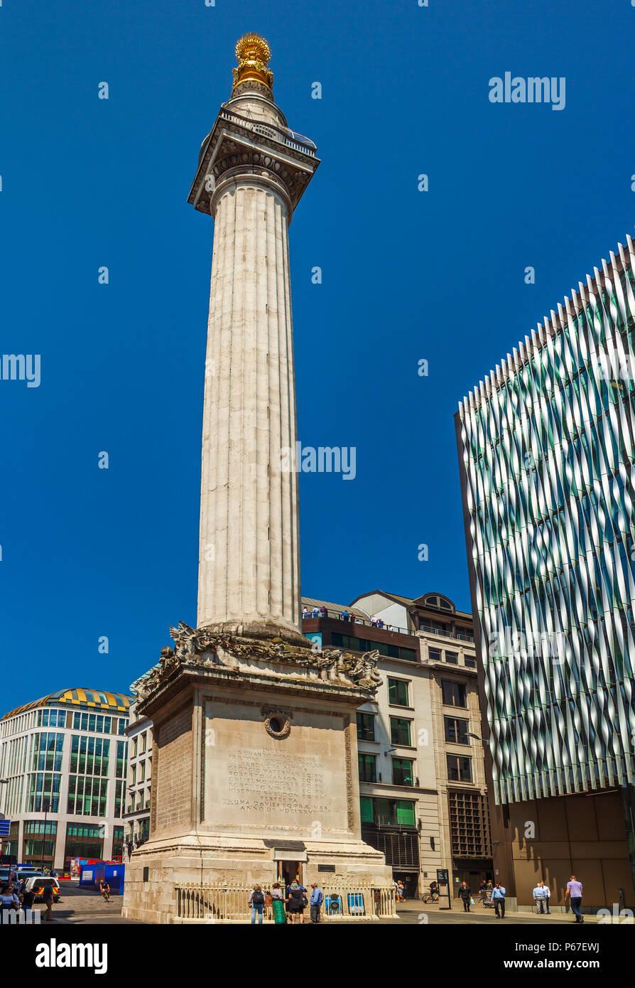Das Denkmal für den großen Brand von London. Stockbild