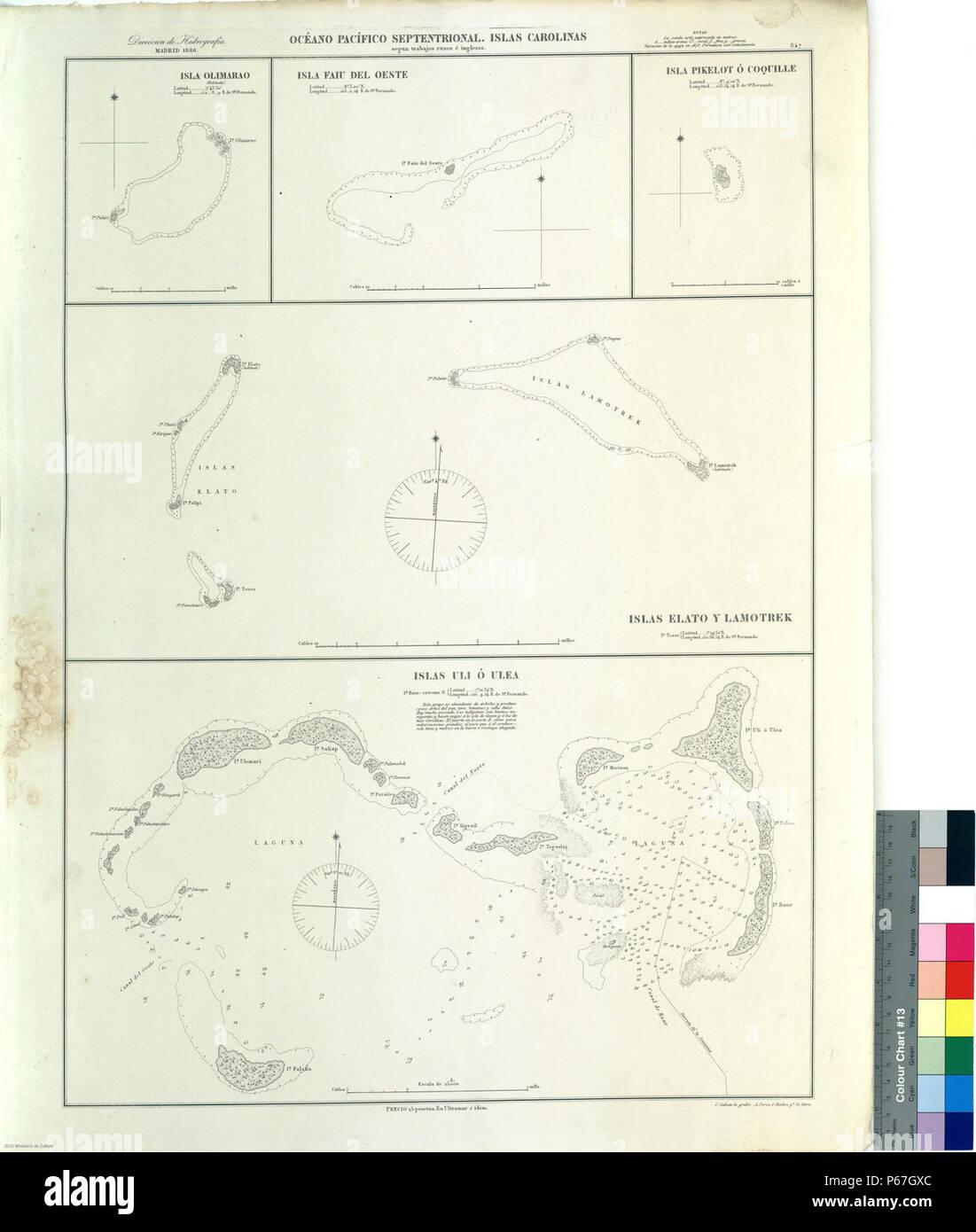 1886 Spanisch Nautische Karte Von Foderierte Staaten Von
