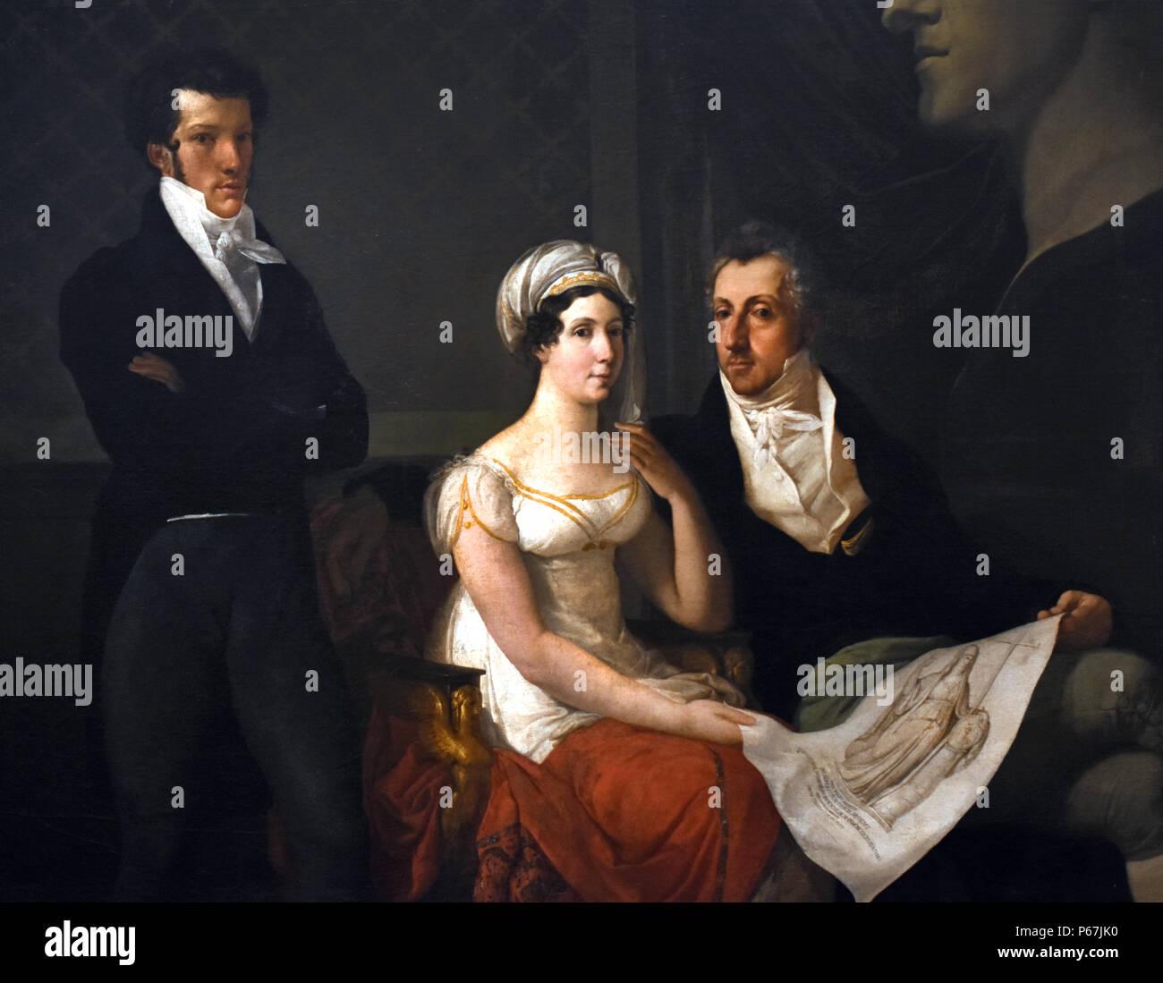 Cicognara Familie von Francesco Hayez 1791-1882 italienischer Maler, der führende Künstler der Romantik in der Mitte des 19. Jahrhunderts, Mailand, Italien, Stockbild