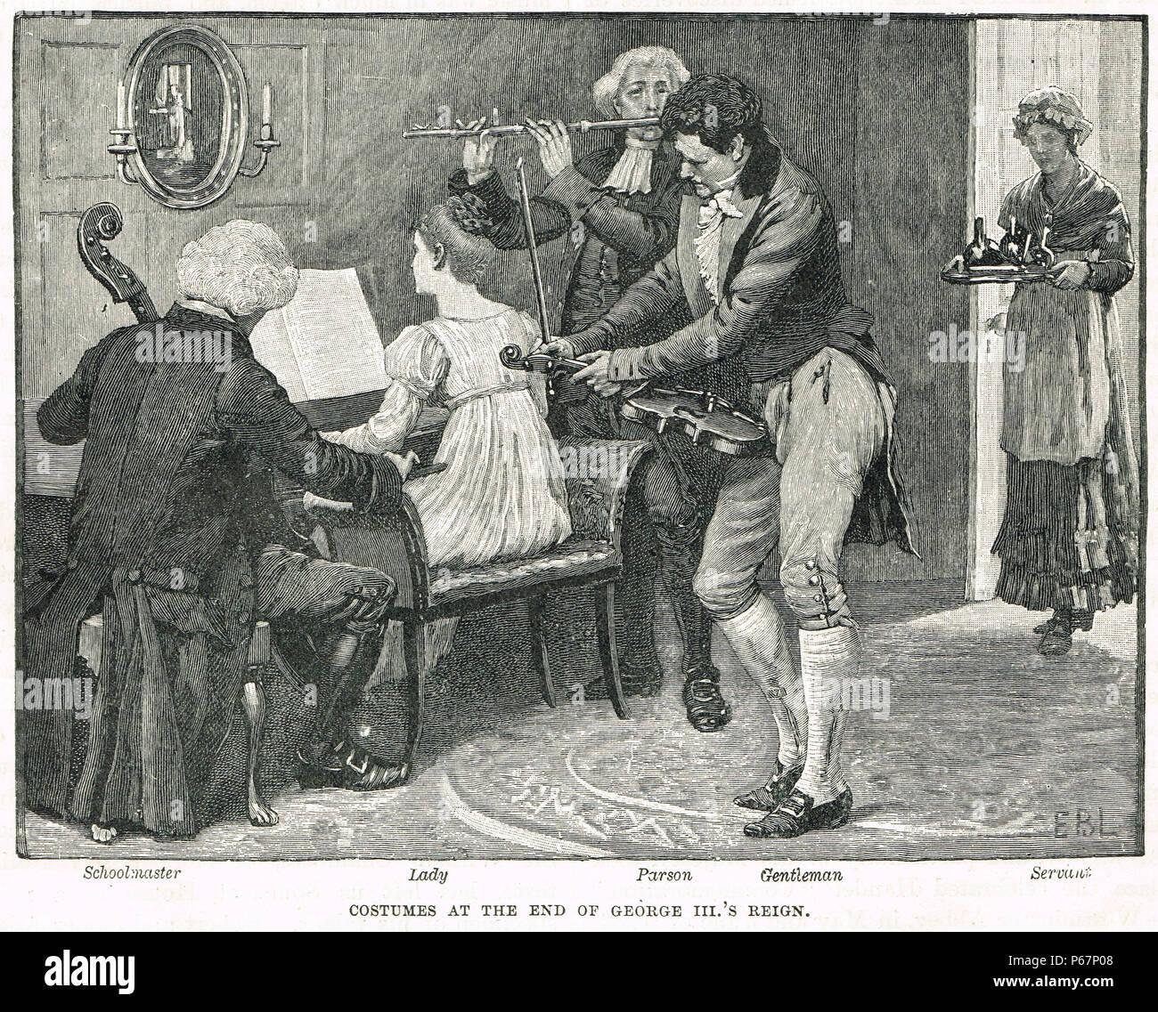 Kostüme am Ende der Regierungszeit von George III. Stockbild