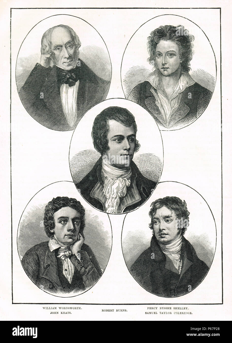 Romantische Dichter der Georgianischen Ära Stockbild