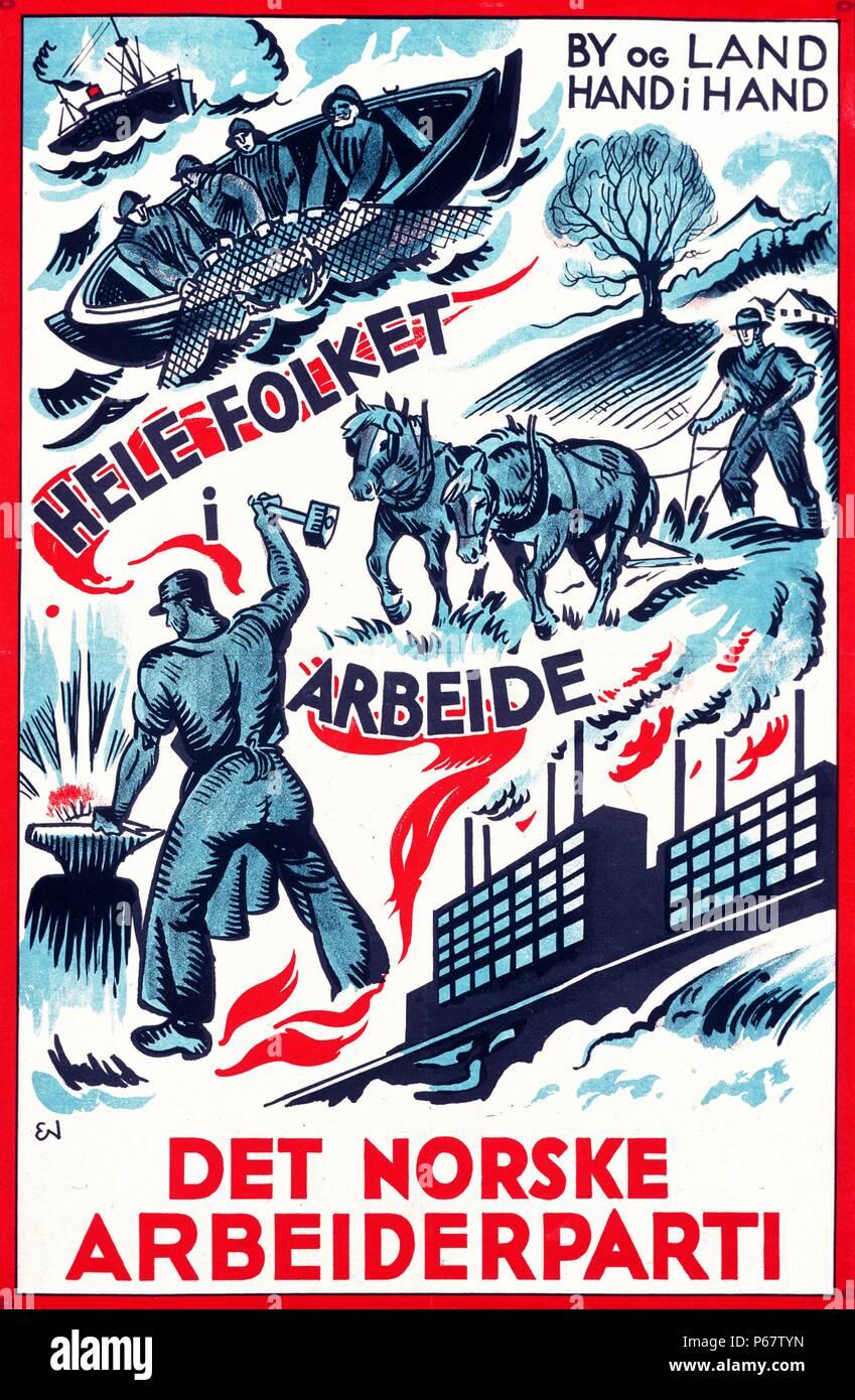 Plakat der norwegischen Arbeiterpartei aus den dreißiger Stockbild