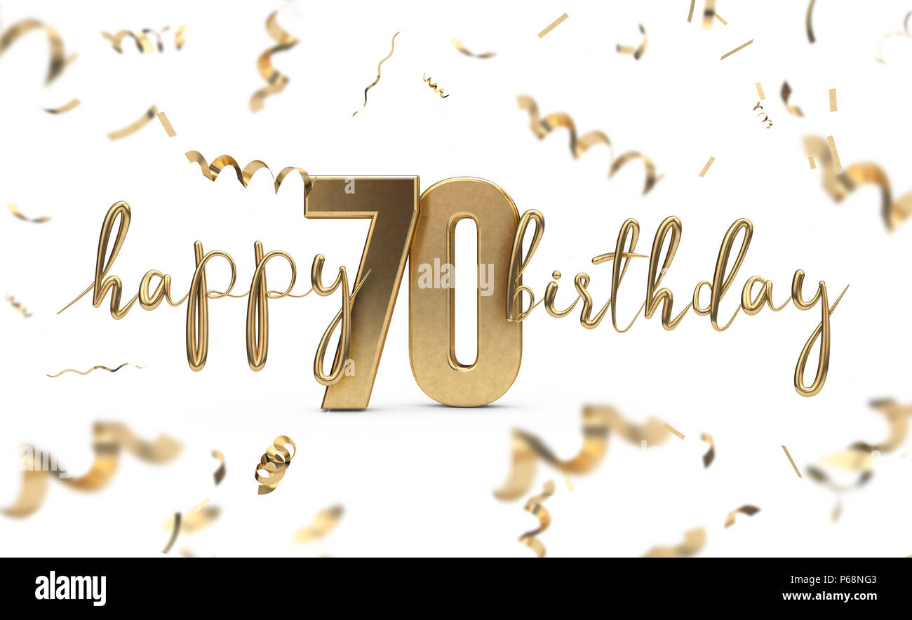 Happy 70th Birthday Gold Gruss Hintergrund 3D Rendering