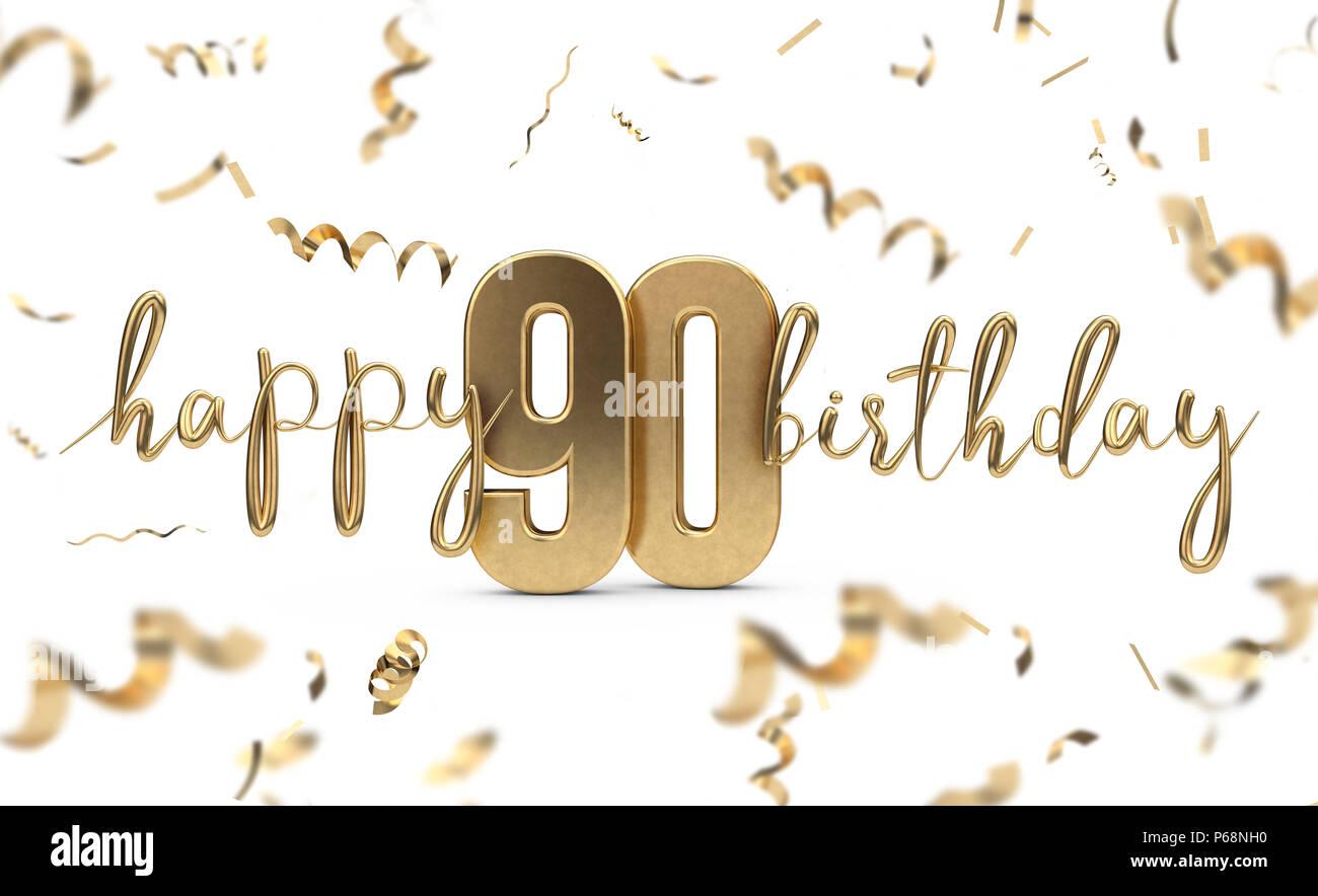Happy 90th Birthday Gold Gruss Hintergrund 3D Rendering