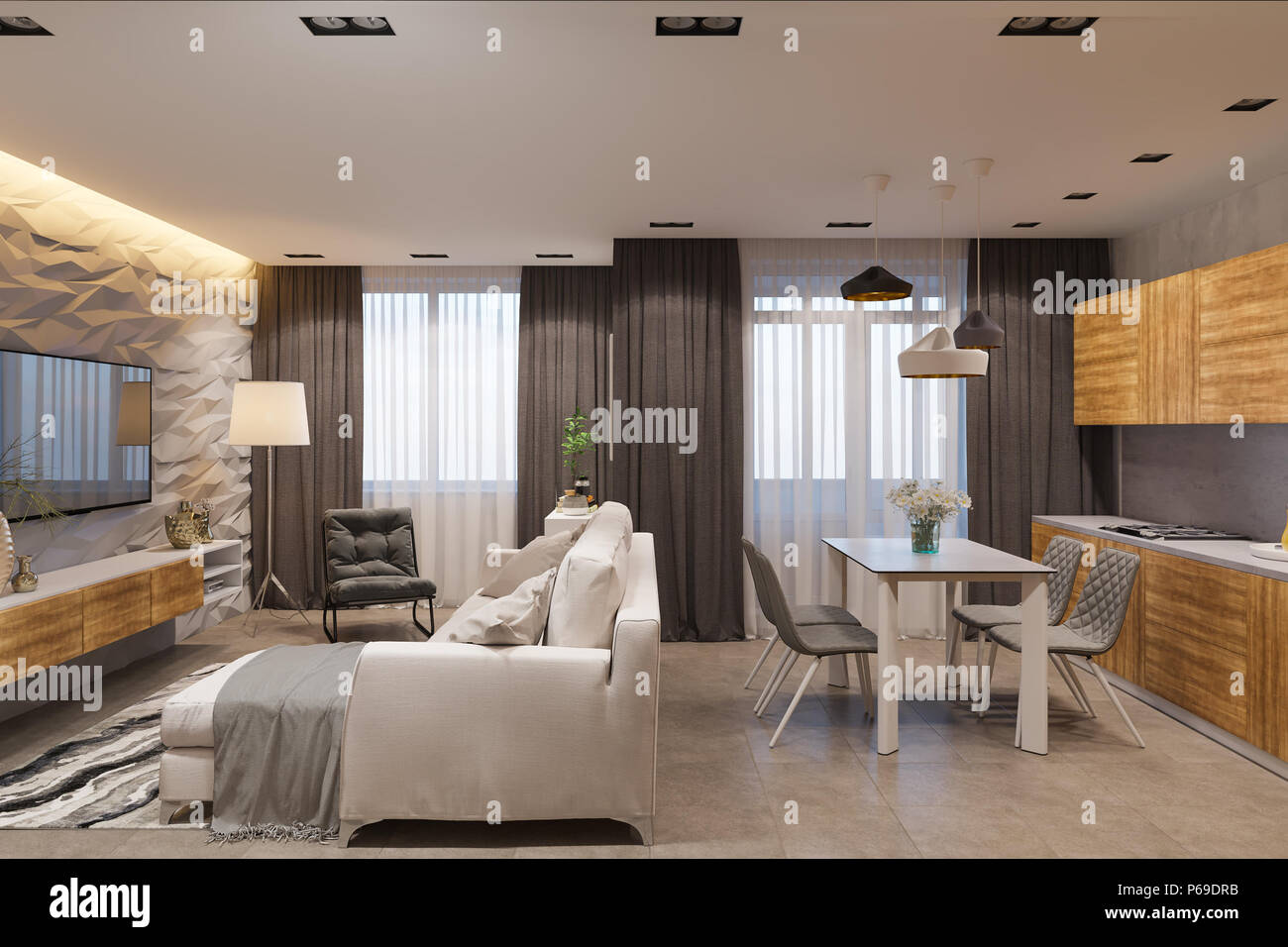 Einrichtung Im Skandinavischen Stil Ein Wohnzimmer Und Eine Kuche