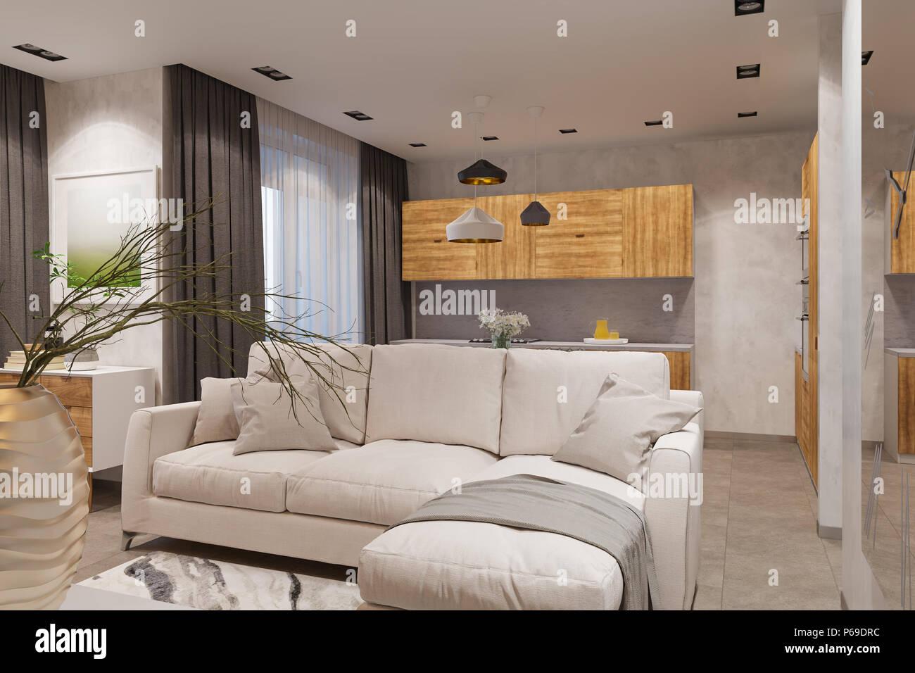 Einrichtung im skandinavischen Stil, ein Wohnzimmer und eine ...