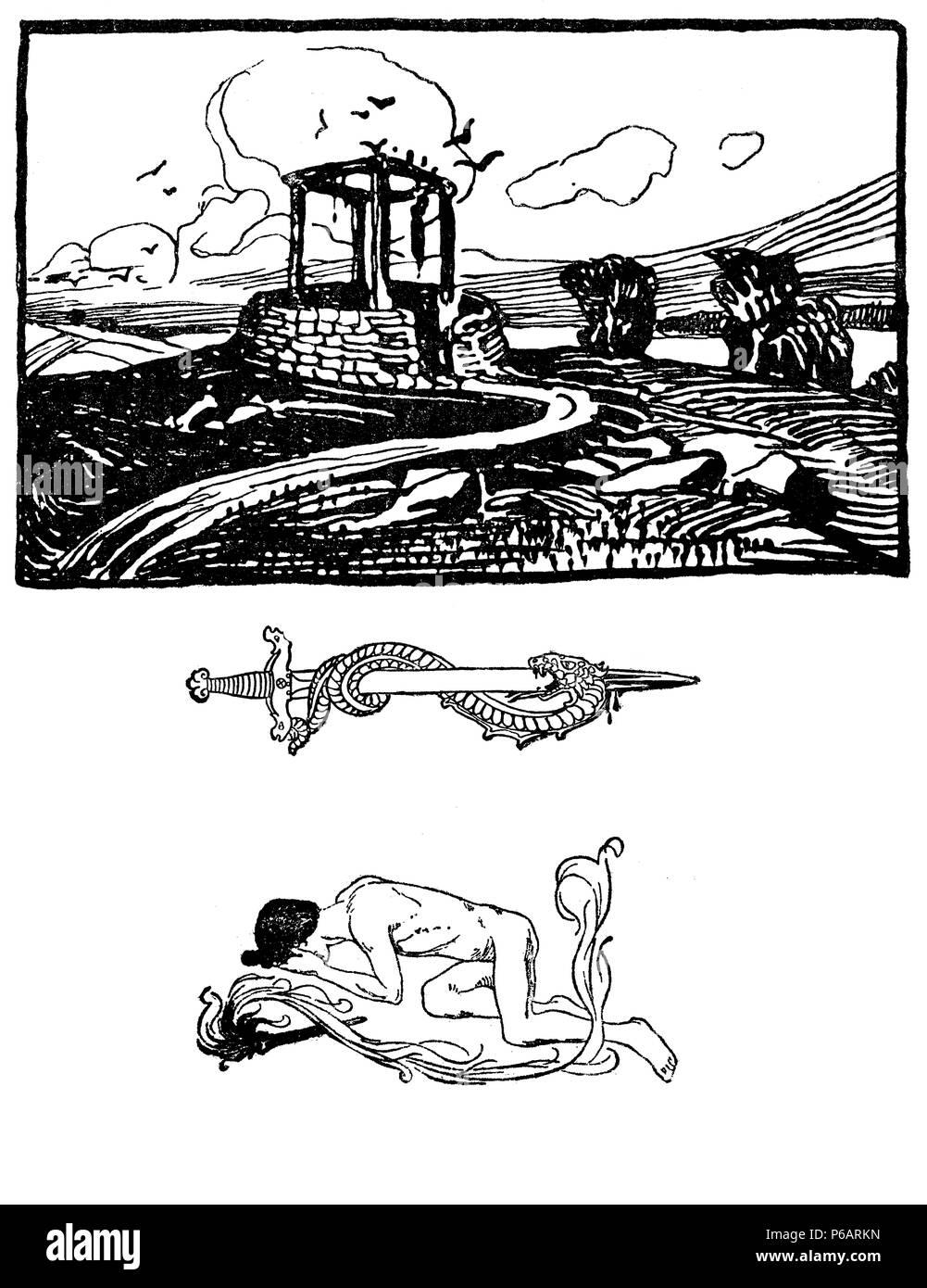 Typografische dekorative Art déco-Elemente early'900: stilisierte Landschaft, Schwert und Schlange, die menschliche Figur als Banner, Grenze und Ende Kapitel Dekoration Stockbild