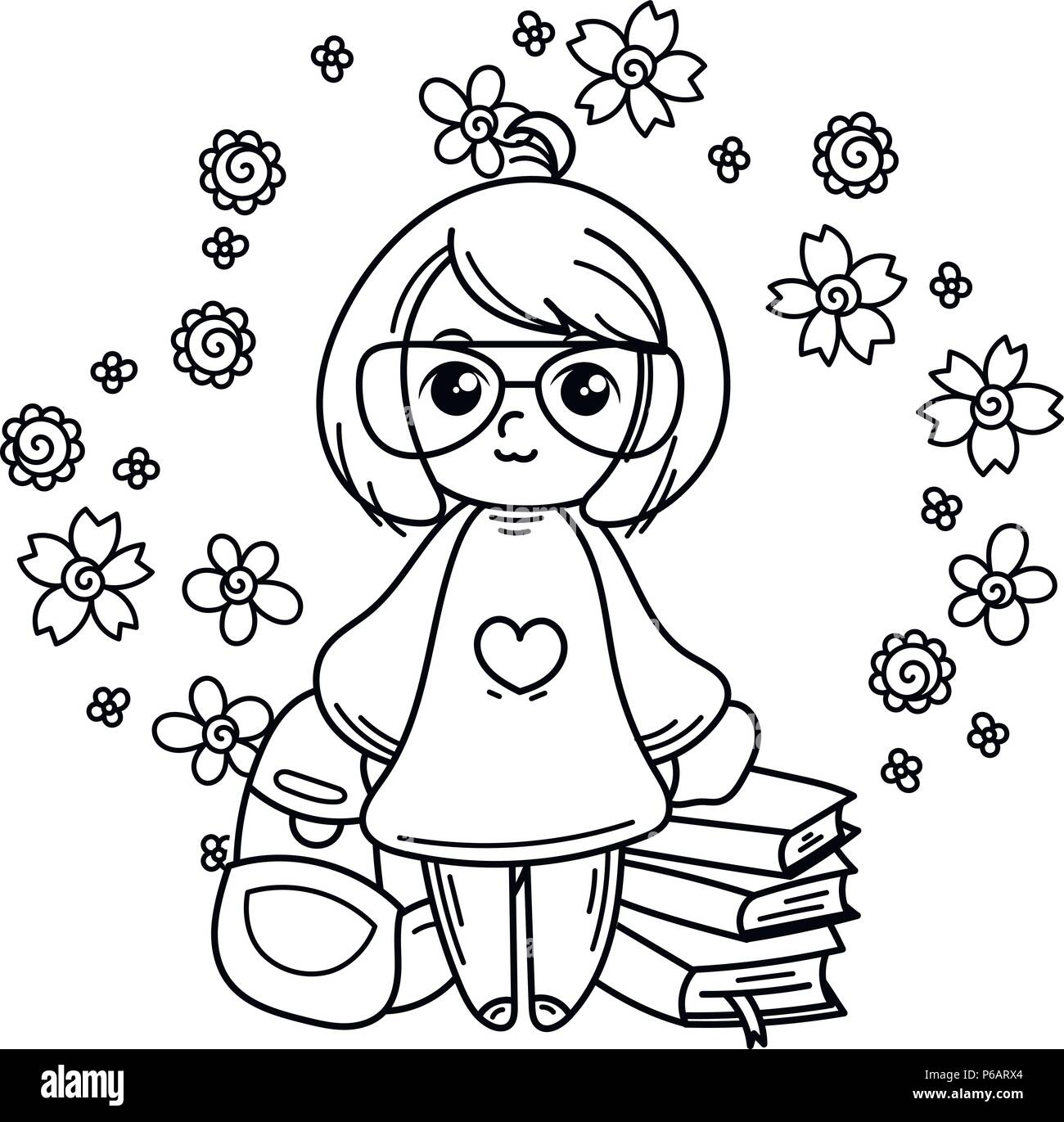 Süße Mädchen bereit, in die Schule zu gehen. Vector Illustration für ...