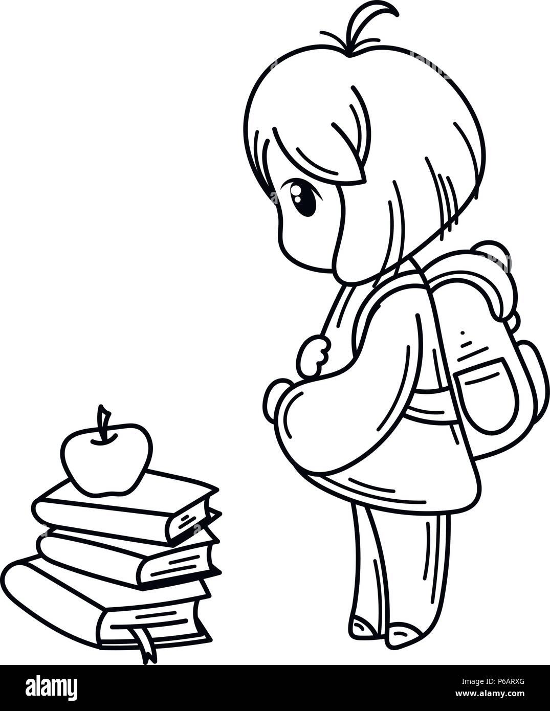 Weinen süße Mädchen bereit für die Schule. Vector Illustration für ...