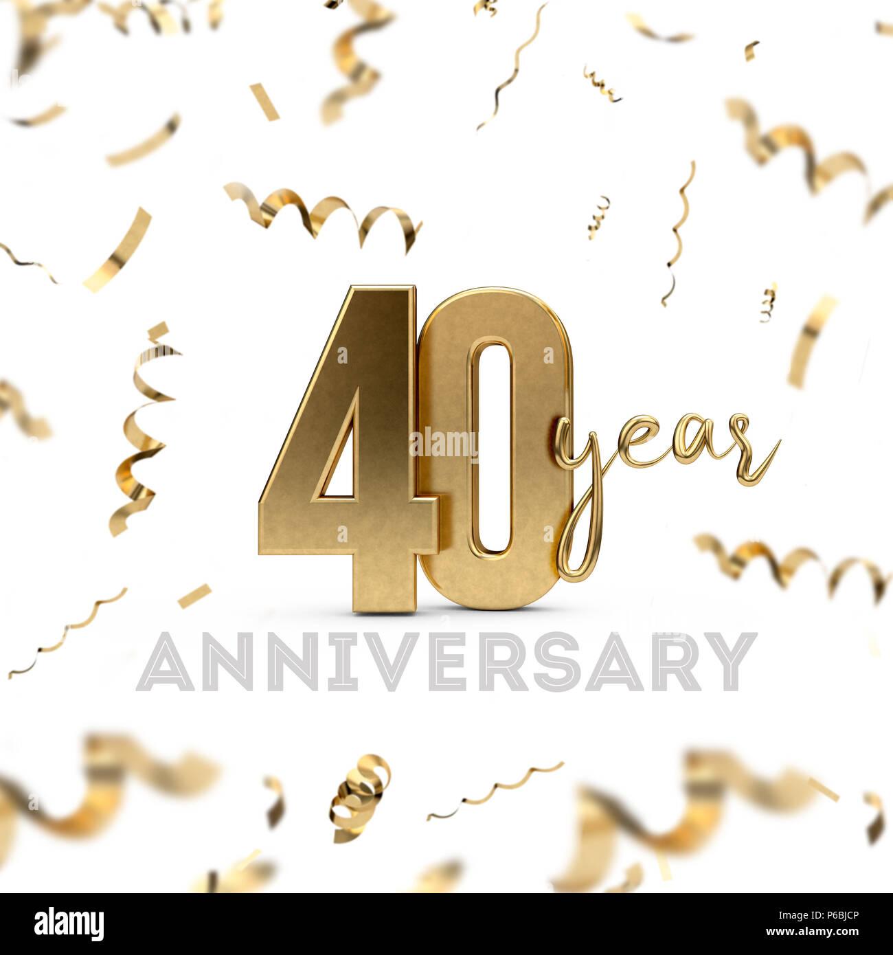 40 Jahriges Jubilaum Feiern Gold Nummer Mit Goldenen Konfetti