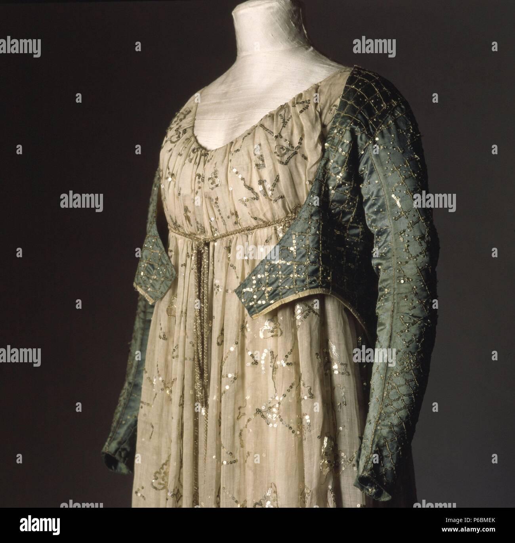 Weibliche Kleid, Empire Stil, 16. Museum: Museu Textilien i d