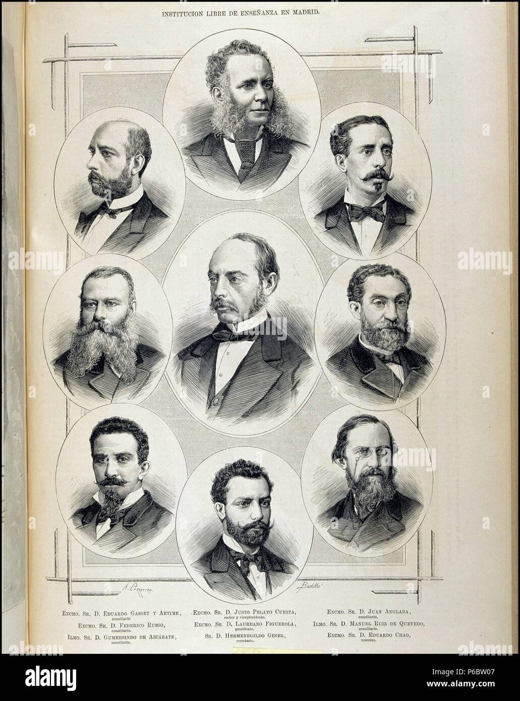 "FIGUEROLA, LAUREANO. Politisch ESPAÑOL. CALAFAF 1816 - 1903. ""INSTITUCION  LIBRE DE"