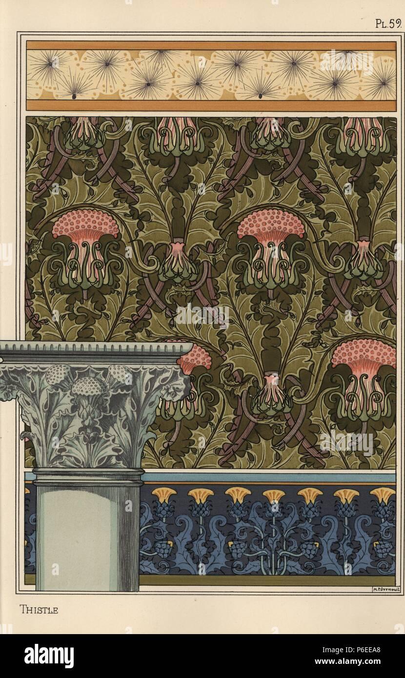 Distel In Der Jugendstil Muster Fur Tapeten Stoff Grenzen Und