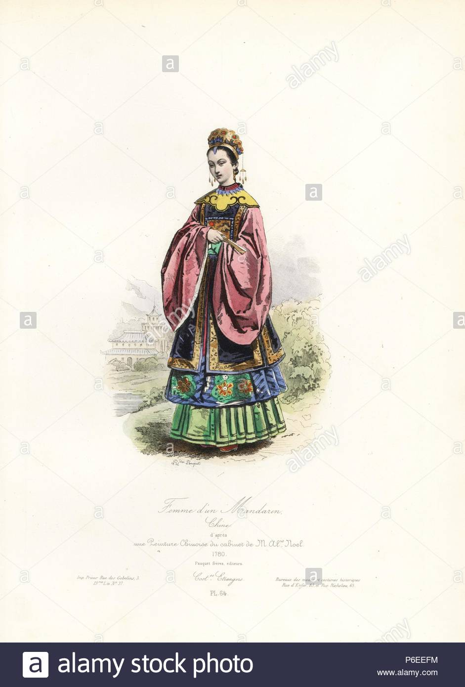 Mandarin Frau, China, nach einem chinesischen Malerei, 1780 ...