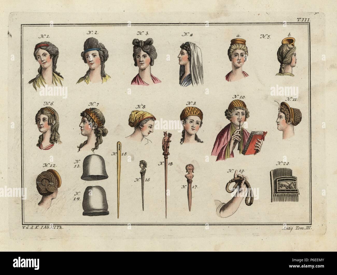 Die römische Frauen Frisuren, Kopfschmuck, Schleier, Mützen, Pins