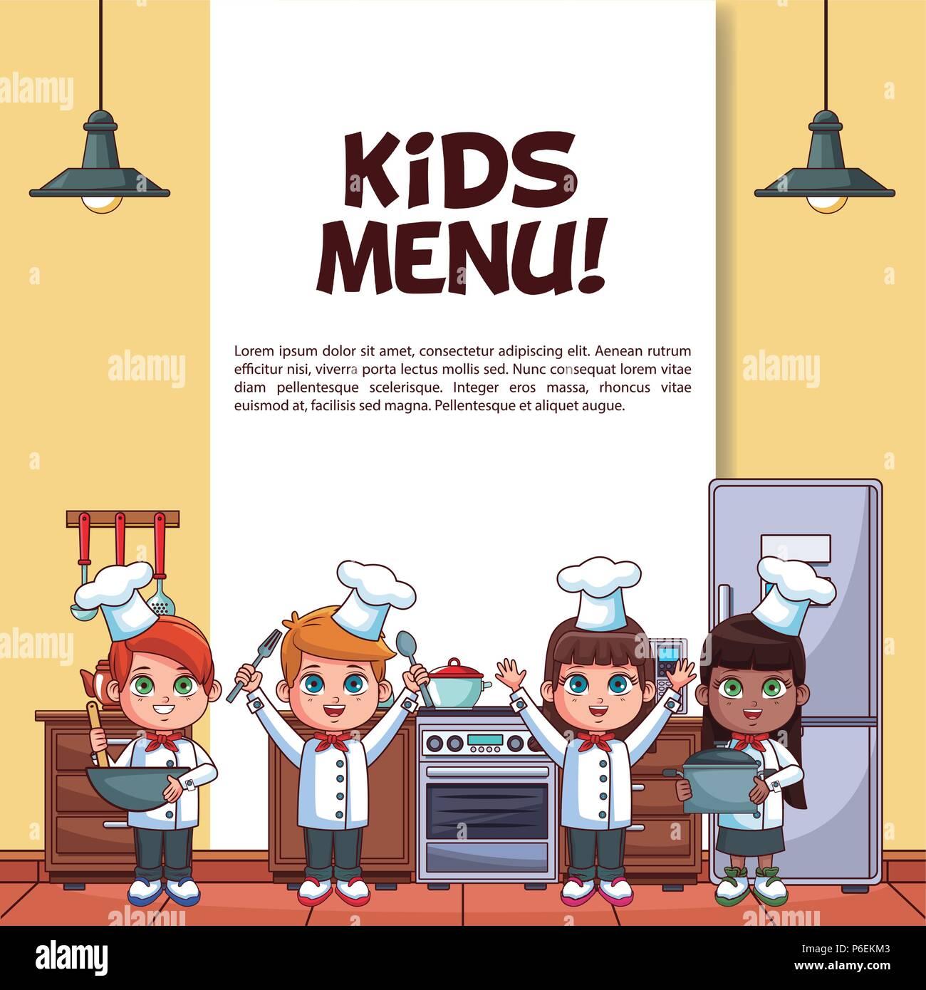 Menü für Kinder Poster mit kleinen Köche in der Küche ...