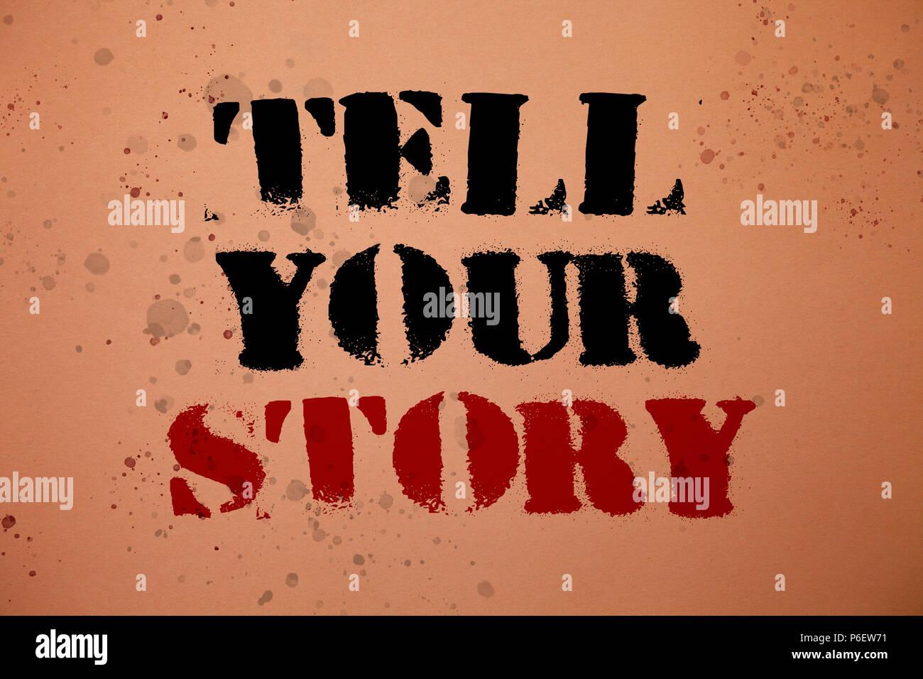 Handschrift Text schreiben ihre Geschichte erzählen. Begriff Sinne