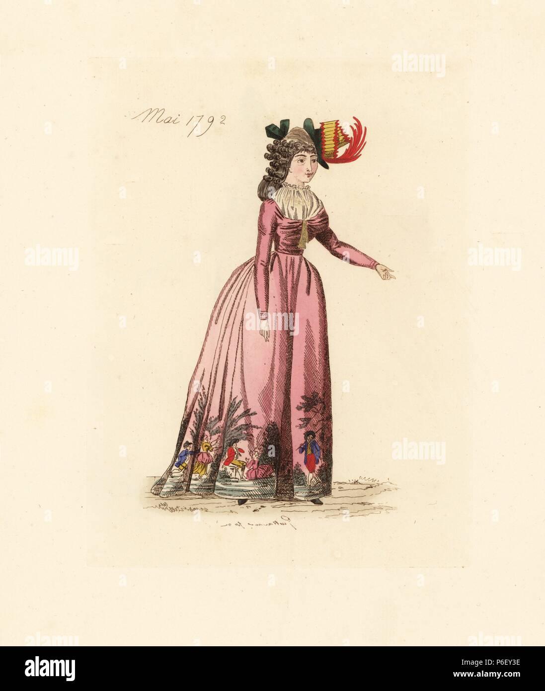 Franzosische Frau Tragen Die Mode Von Mai 1792 Sie Tragt Einen Hut