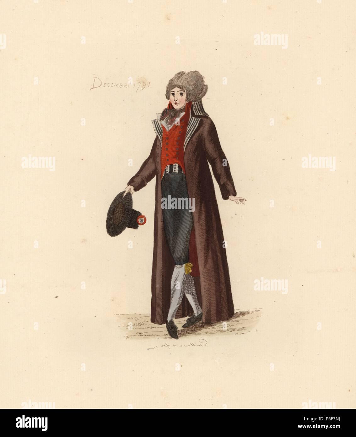 Franzosische Mann Der Die Mode Von Dezember 1791 Er Tragt Eine