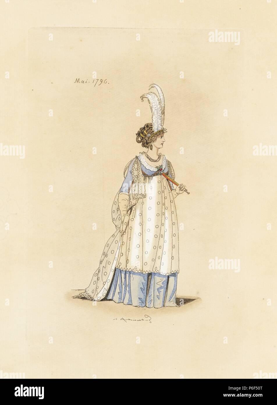 englisch frau in der mode des mai 1796. sie trägt eine tiara