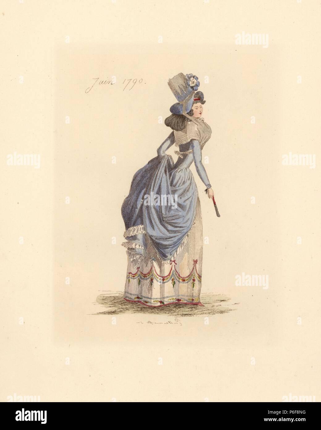 Franzosische Frau Tragen Die Mode Von Juni 1790 Sie Tragt Ein