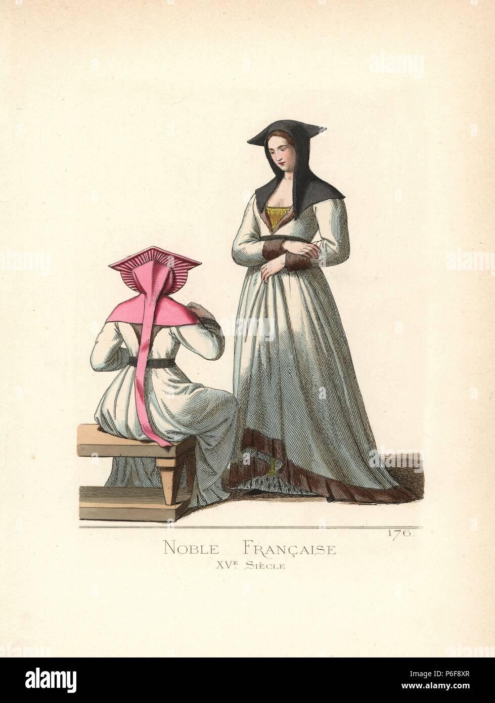 Französische Adlige, aus dem 15. Jahrhundert. Sie trägt ein Kopftuch ...