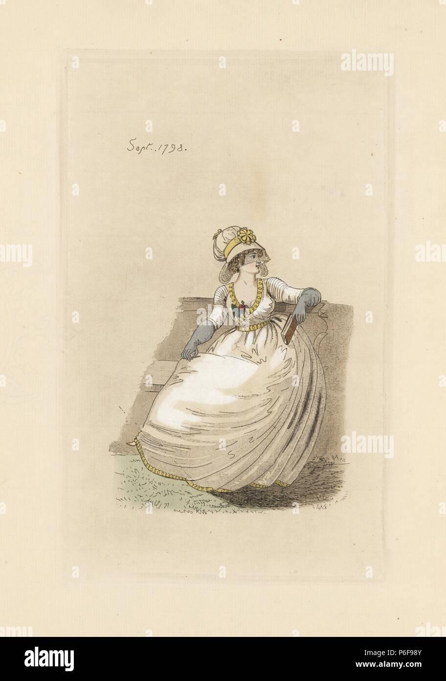englisch frau in der mode des september 1798. sie trägt eine