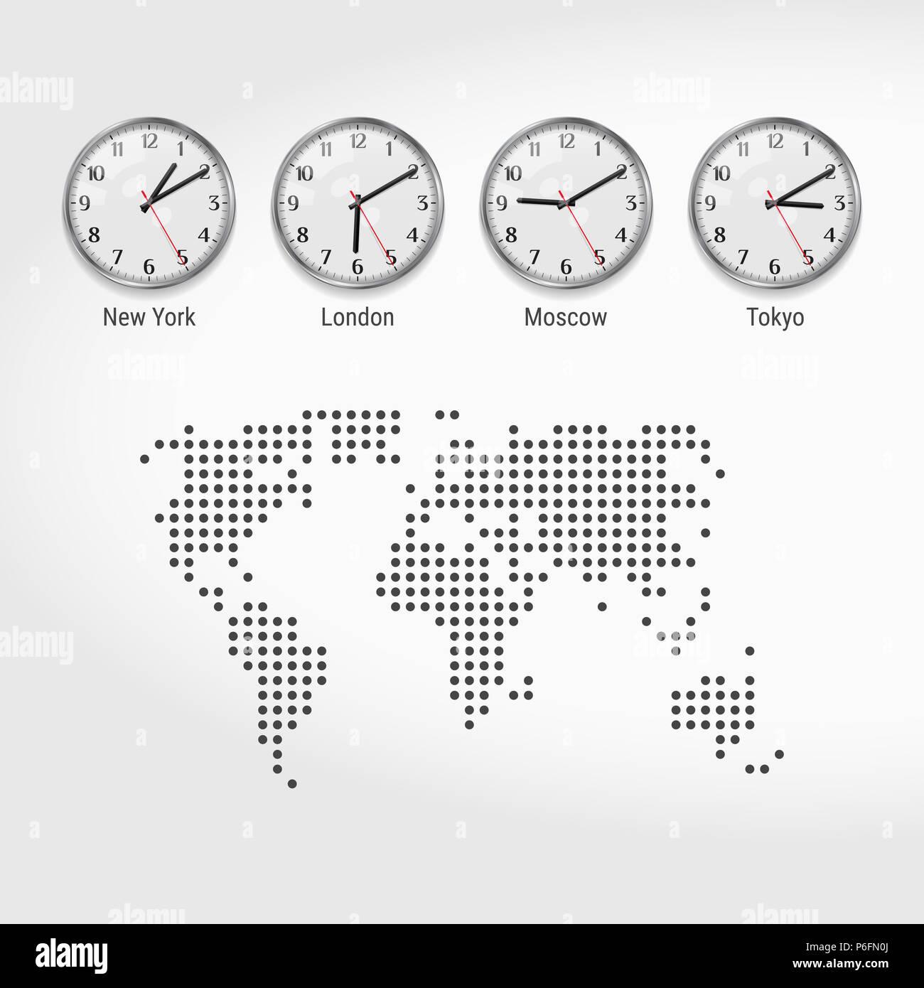 Welt Zeitzonen Uhren Die Aktuelle Uhrzeit In Berühmten Städten