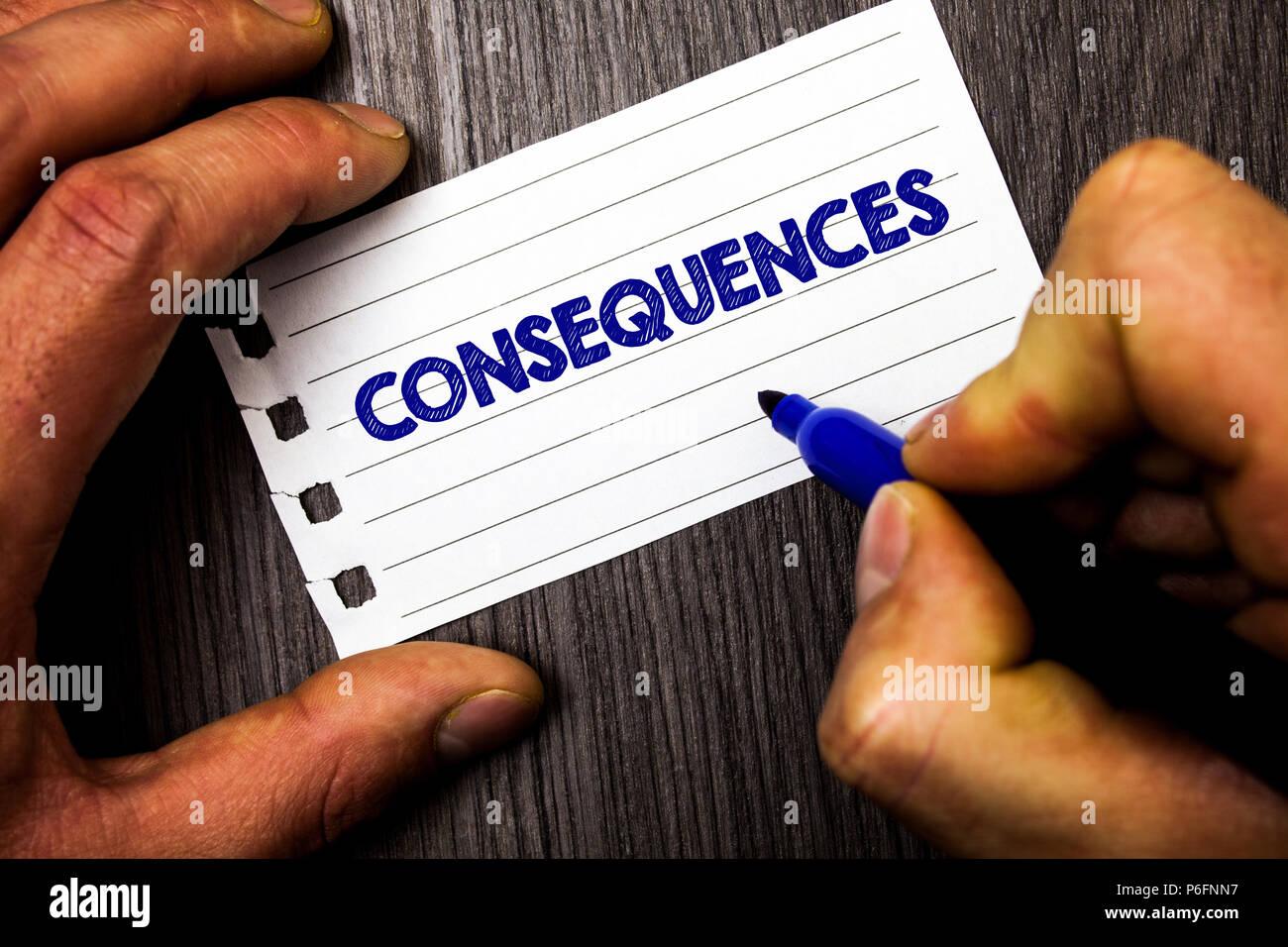 Schreiben Hinweis Konsequenzen Zeigen Business Foto Präsentation
