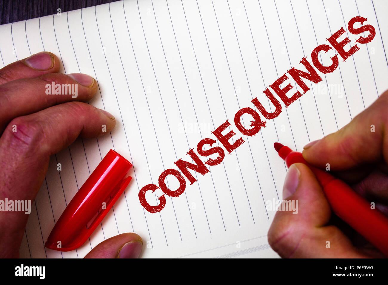 Konzeptionelle Handschrift Konsequenzen Zeigen Business Foto