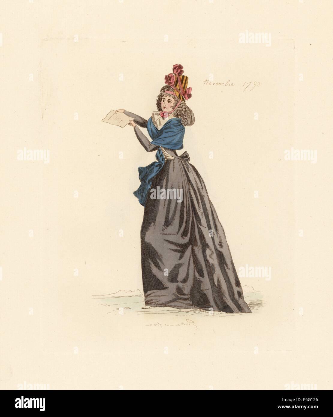 Franzosische Frau Tragen Die Mode Von November 1792 Sie Tragt Einen