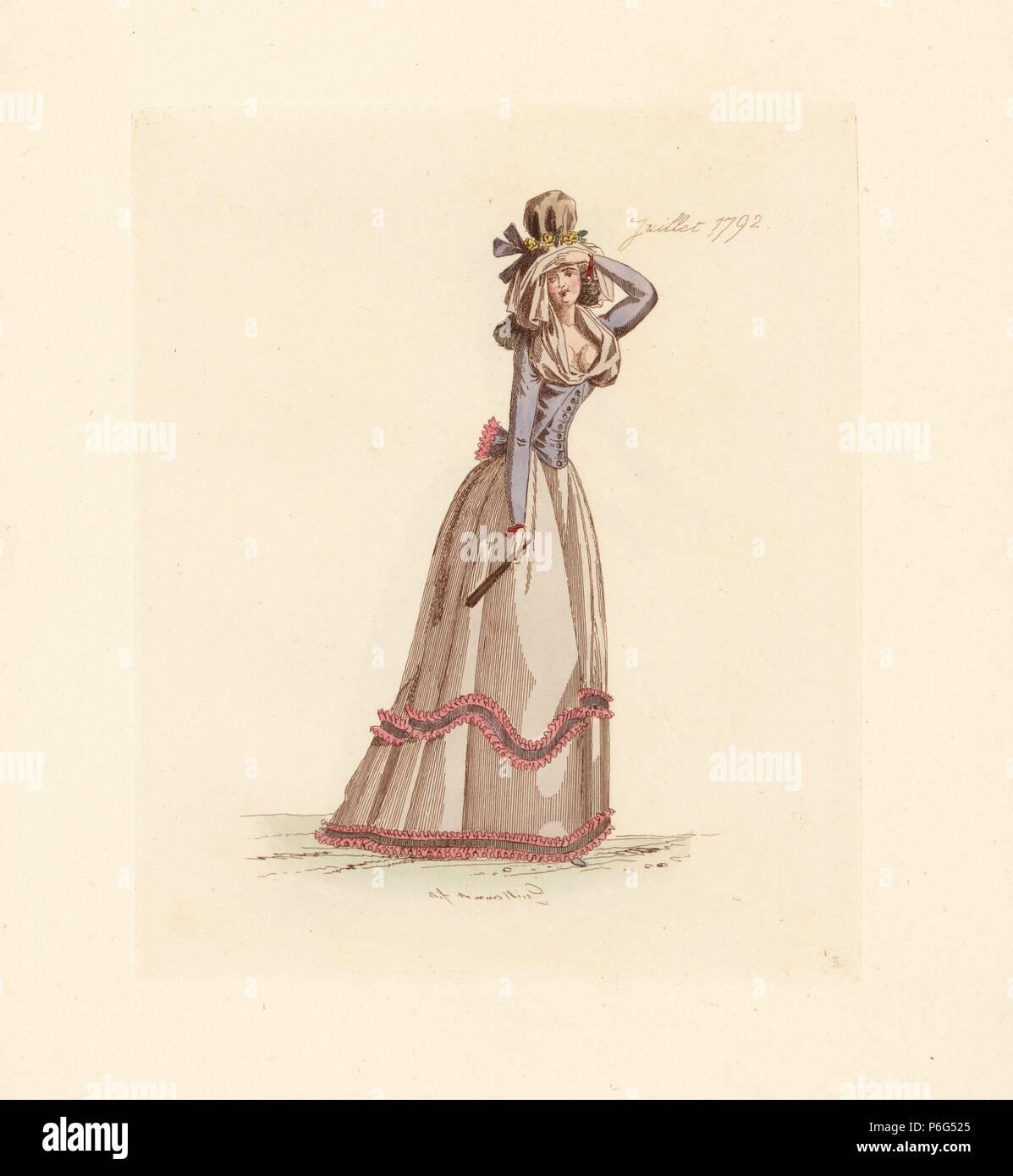 Franzosische Frau Tragen Die Mode Von Juli 1792 Sie Tragt Einen Hut